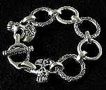 053. Custom Silver Bracelet With Skull Ends..jpg